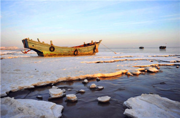Frozen beauty at Jiaozhou Bay