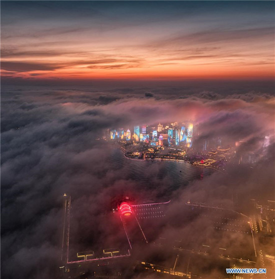 Aerial view of advection fog above Qingdao