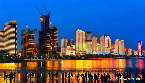 Night view of Qingdao, host city of upcoming SCO summit